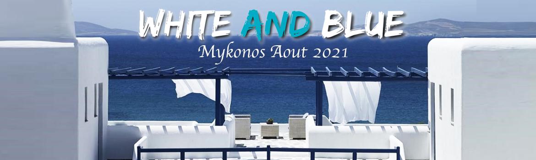White and blue Mykonos été 2021